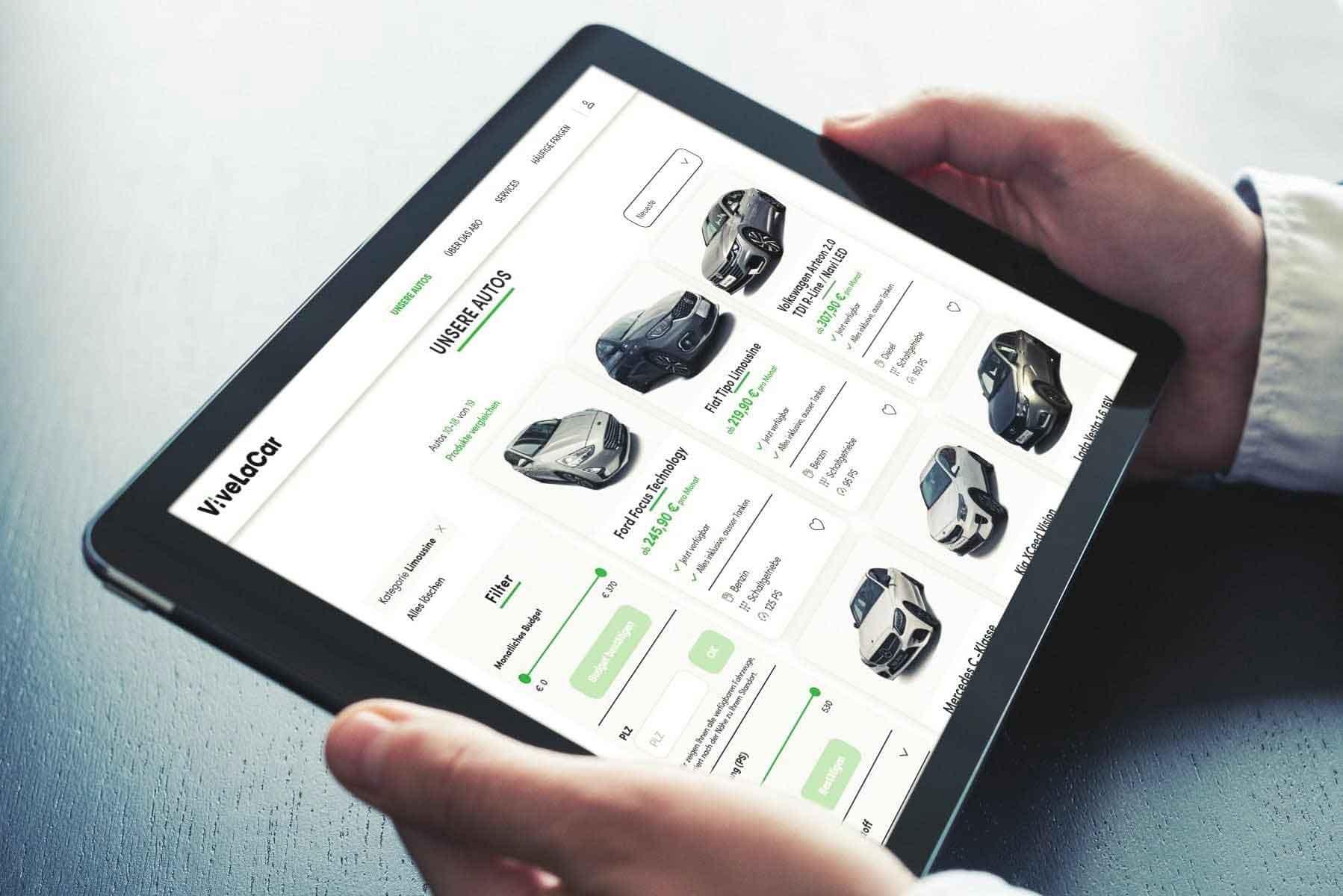 ViveLaCar auf dem Tablet